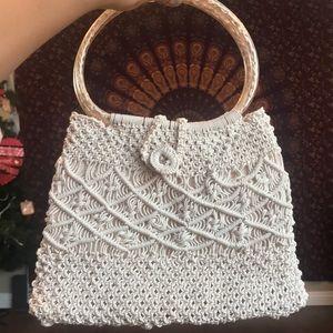 Vintage macrame handbag